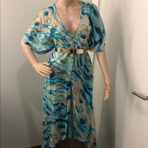 Trina Turk new high low silk blue nude dress S M